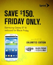 Post image for Black Friday Ad Leak: Sprint $50 Samsung Galaxy S III