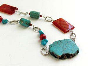 Chunky Turquoise and Agate Statement Necklace By Andrea Fuentes Designs