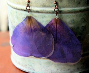 Purple Princess Flower Pressed Flower Petal Earrings By IMPRESSEDbyNature