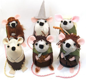 Lord of the Rings Set of 6 Felt Mice By TheHouseOfMouse