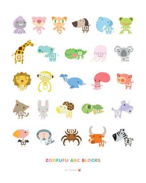 Zoofufu ABC Block Animal Poster Print By Tofufu