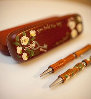 Spinning Paintbrush - His and Hers Wood Pens