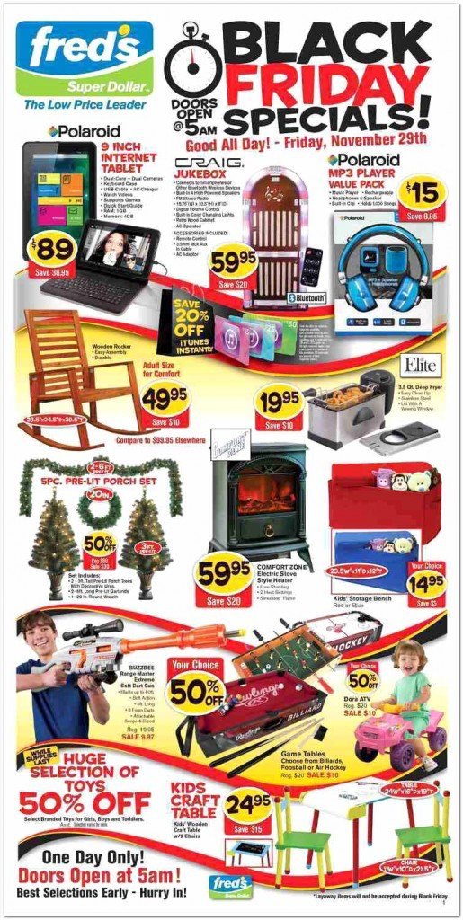Fred's Super Dollar Black Friday Ad Scan - Page 1