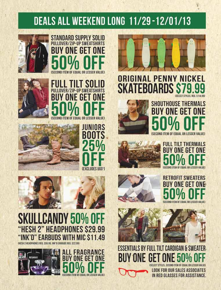 The Tilly's Black Friday Ad has not yet released. Be sure to subscribe to our newsletter to receive emails about all the latest Black Friday news and ad leaks for your favorite stores, or check out all of the latest Hot Deals. Tilly's is a specialty retailer of clothing, shoes, and accessories for the action sports industry that began in Southern California in the early 80's.