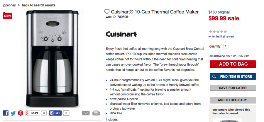 JCPenney coffee maker