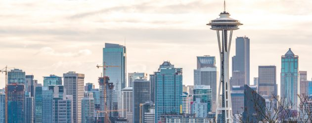 the morning light in Downtown Seattle ,shoot from Kerry Park viewpoint,in winter,Washington,USA..