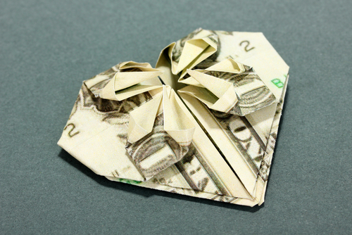 heart folded money