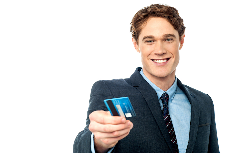 Handing over a credit card