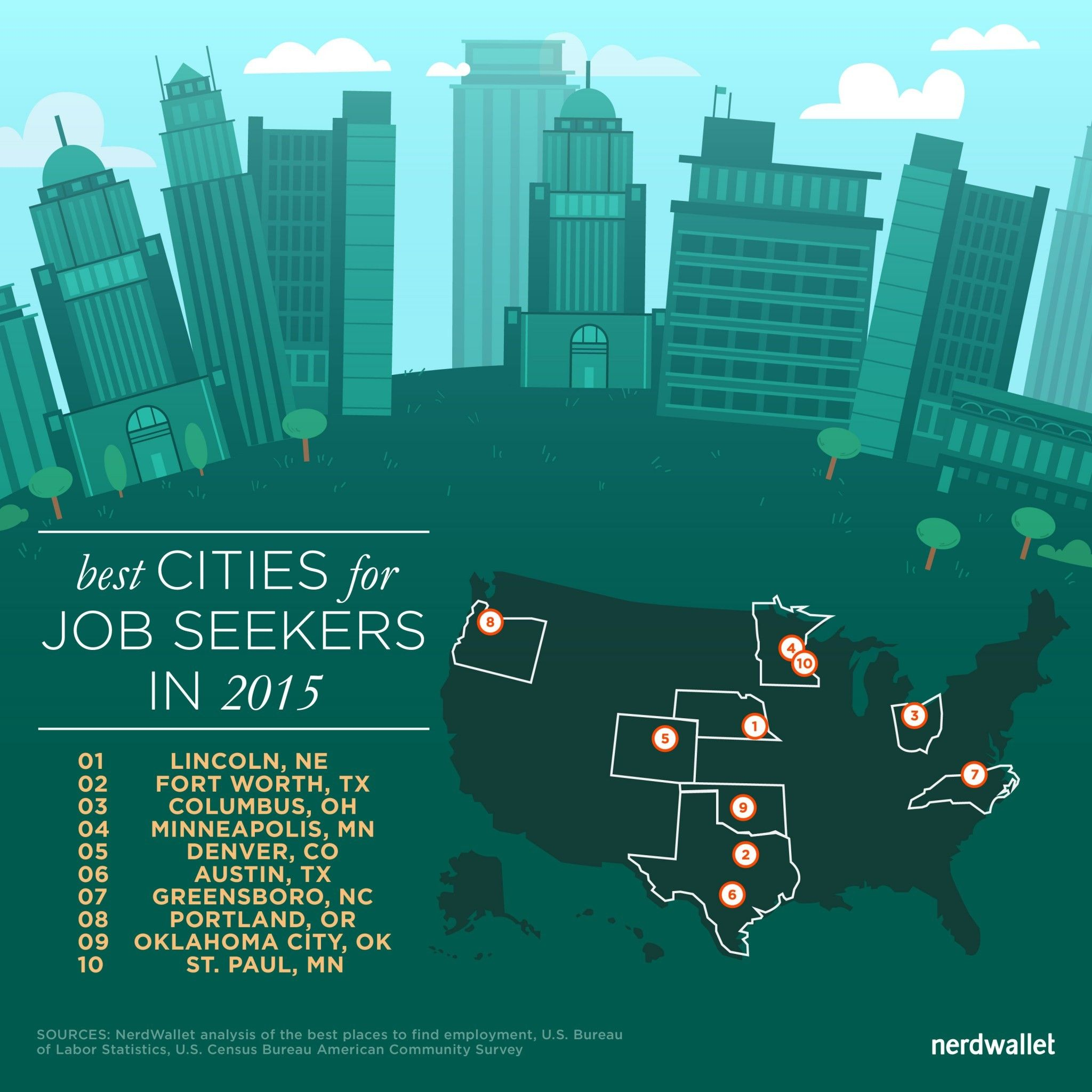 best cities for job seekers in  best cities for job seekers map 1450px 011415 150ppi 01