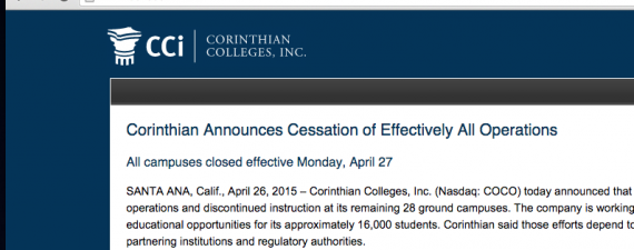 For-Profit Corinthian Colleges to Close All Remaining Schools