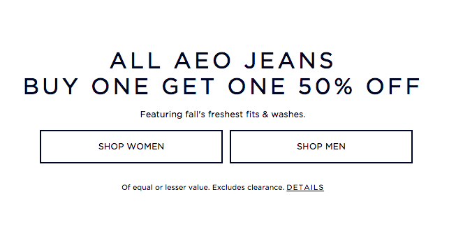 Buy One, Get One 50% Off on Jeans at American Eagle - NerdWallet