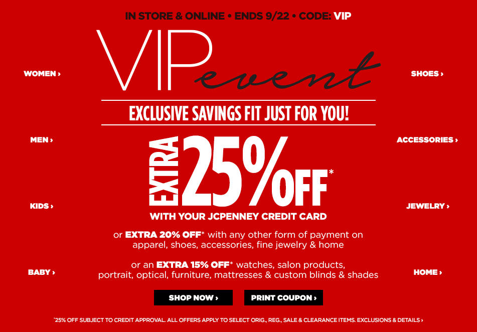 JCPenney VIP Sale Event