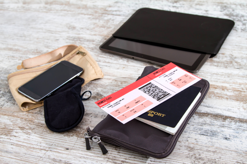Airline ticket, passport and electronics