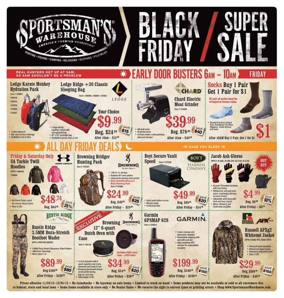 Sportsman Warehouse Black Friday Ad Scan 2013 – Page 1