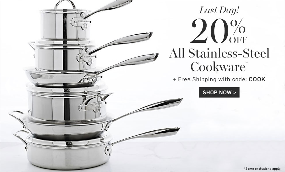 20% off Stainless Steel Cookware at Williams-Sonoma