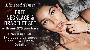 Free Necklace and Bracelet Set at Victoria\u0027s Secret