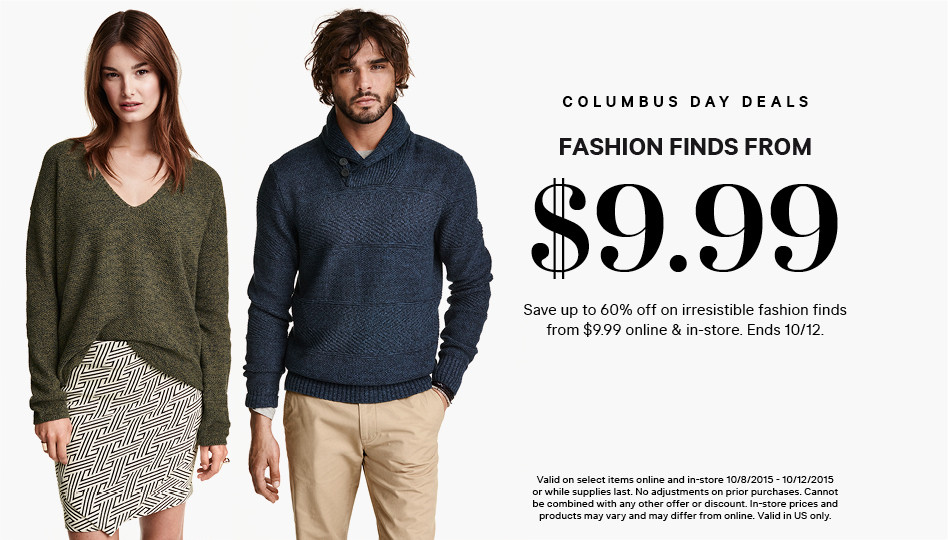 H&M Columbus Day Sale