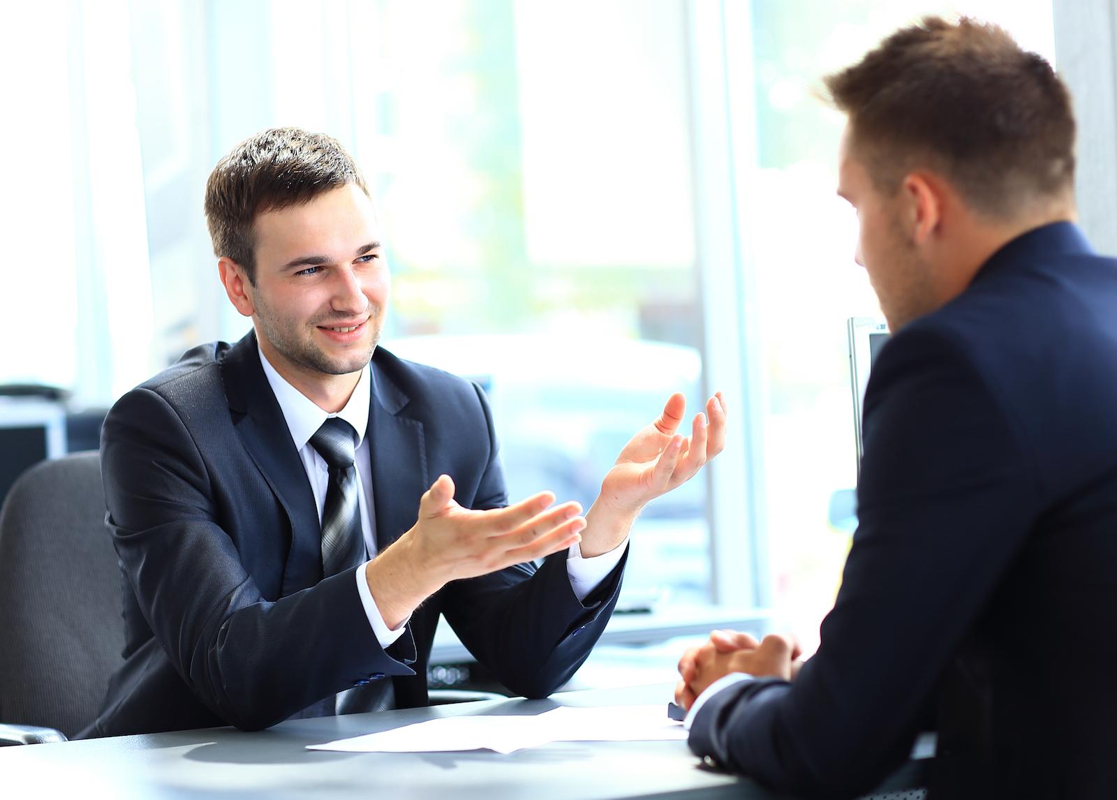 man interviewing