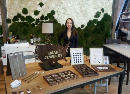 Victoria Allison sells her homemade jewelry at a pop-up event at West Elm. Credit: