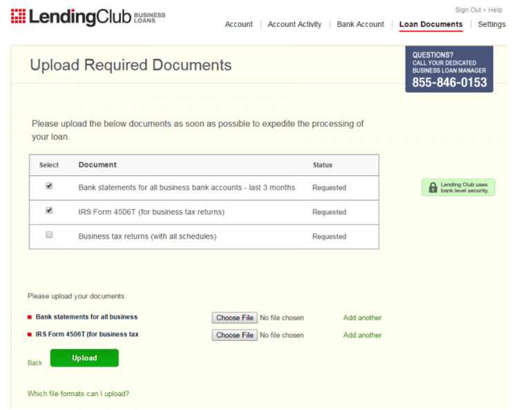 Applying For A Business Loan At Lending Club: Upload Documents  Loan Document