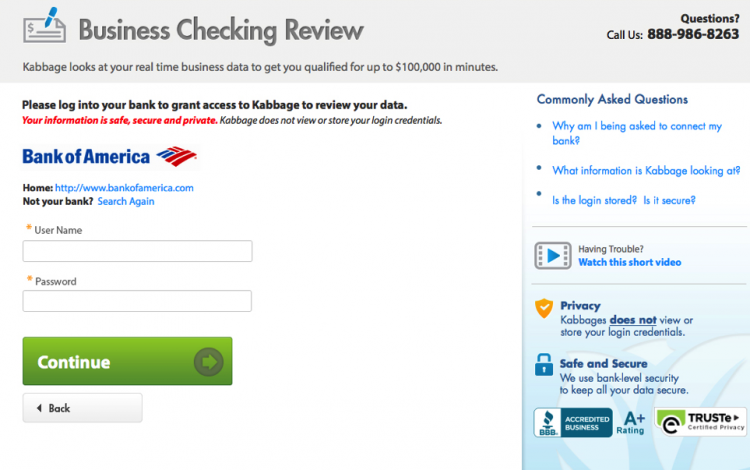 Kabbage business loan application: Checking revenue