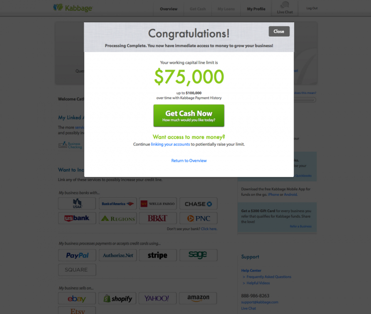 Kabbage business loan application: Congrats!