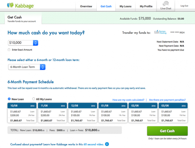 Kabbage business loan application: Getting your cash