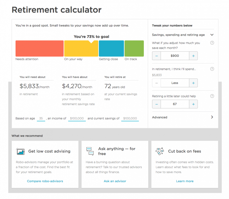 Retirement Calculator Story