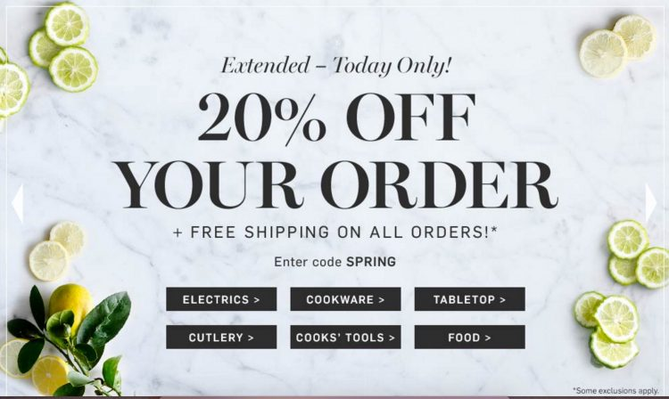 Extra 20% off Williams-Sonoma