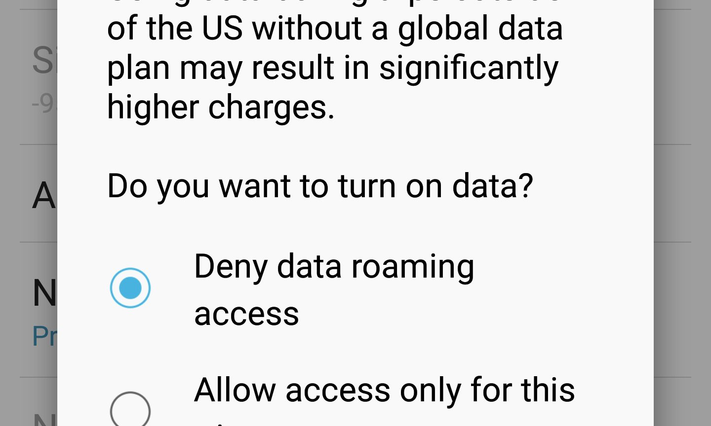 Data roaming Android