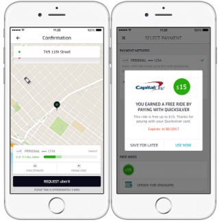 quicksilver offers free rides uber