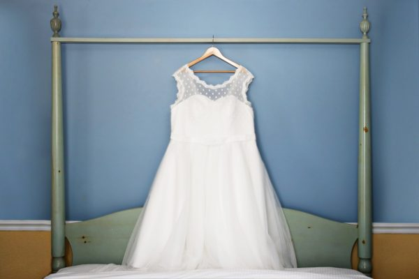 Brittany purchased her wedding dress — and several backups — on Amazon. Cost for this dress: $130.