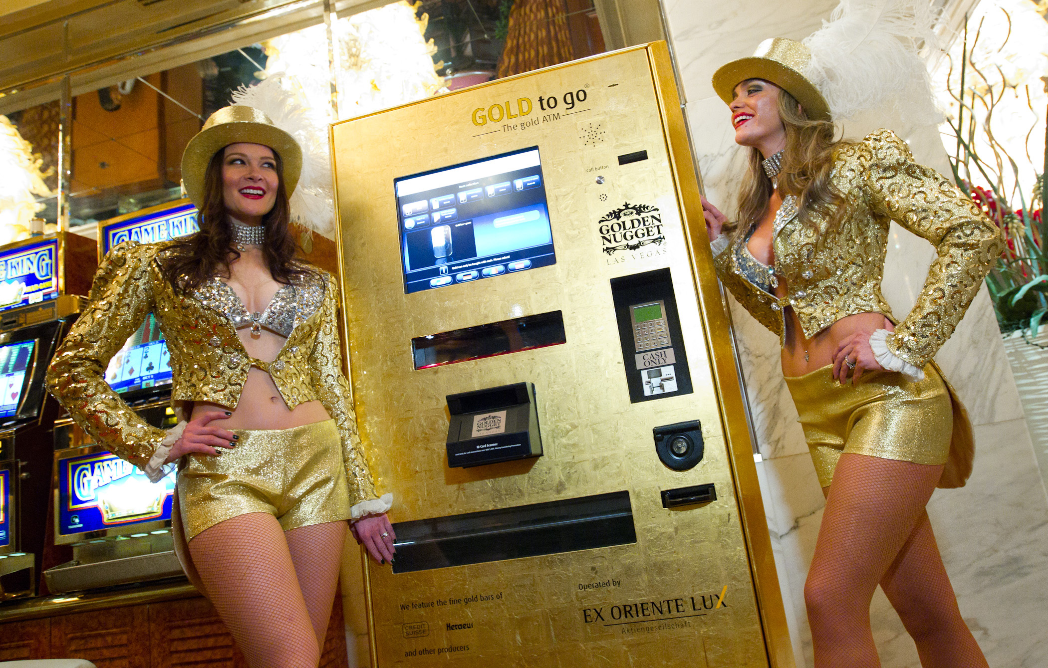 Unveiling of the 1st Gold to Go ATM machine in Las Vegas in the Gold Tower Lobby at the Golden Nugget Casino in 2011. © RD/ Erik Kabik/ Retna Digital