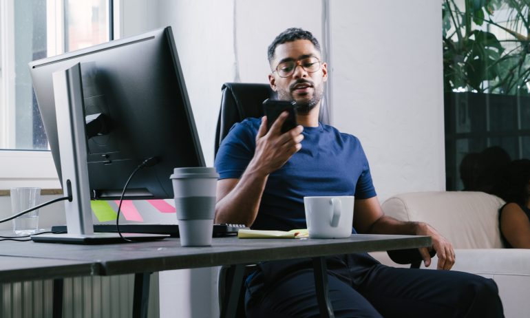 Entrepreneur talking on the phone.