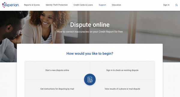 Experian credit report dispute