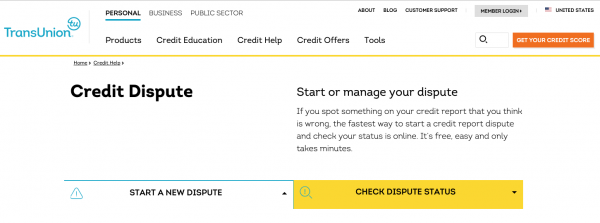 TransUnion credit report dispute