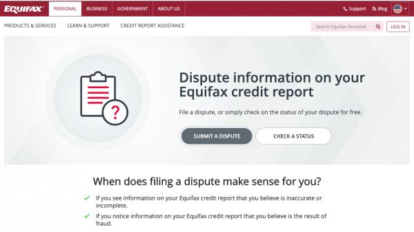 Equifax credit report dispute