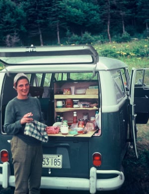 A family friend with the VW Microbus the author fell in love with, circa 1964.