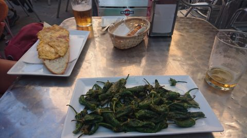 Bocadillos and blistered poblano peppers after a hard day's walk.