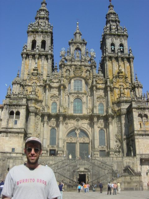 Jim Royal in front of the Cathedral of Santiago de Compostela.
