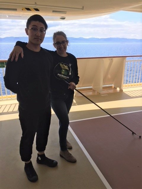 Me and Donald Hsu, my future son-in-law and reigning shuffleboard champion, on Deck 7.