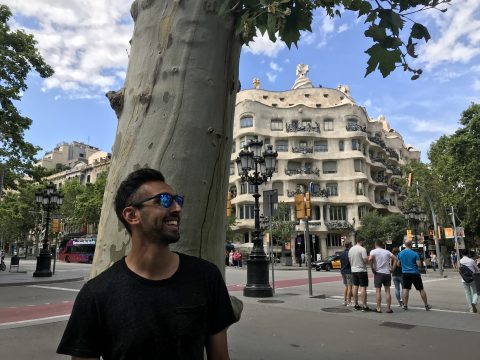 Recent travels to Portugal and Spain brought back memories of my semester abroad. Here I am in front of Casa Milà in Barcelona.