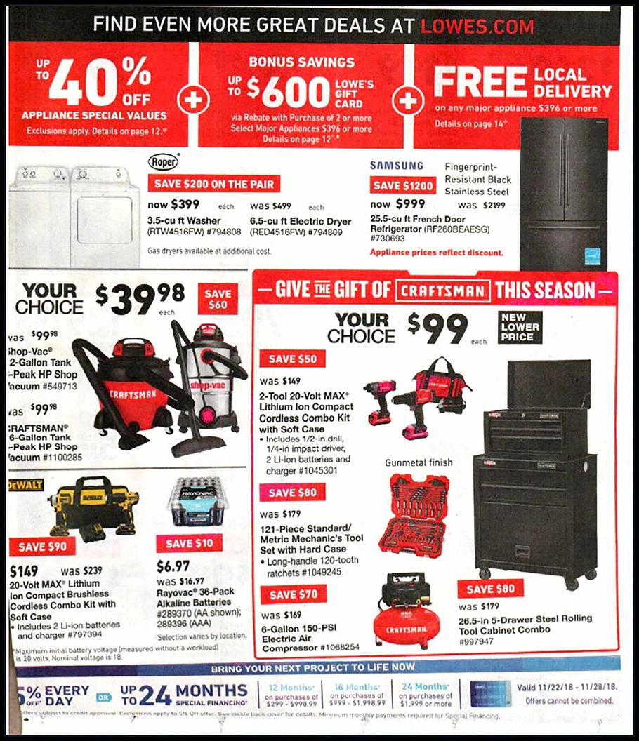 Lowe's Black Friday 2018 Ad, Deals and Store Hours - NerdWallet