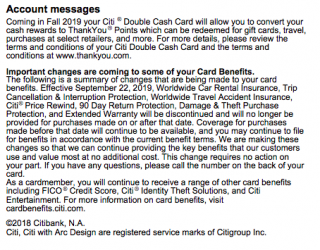 Citi Double Cash to Allow Conversion Into ThankYou Points