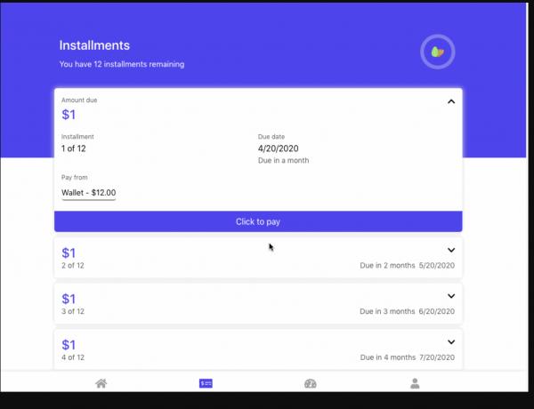 captura de pantalla de pago kikoff