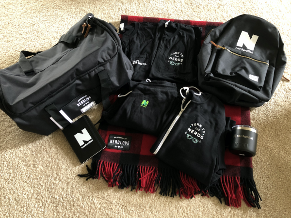 Many different nerdwallet bags and gear