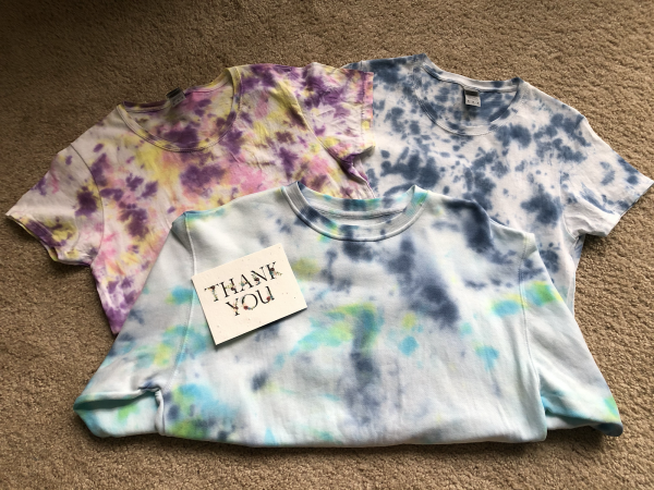 """Tie Die Shirts plus a """"Thank you"""" note"""