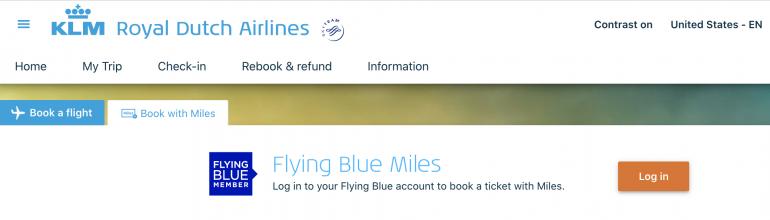 booking award flights on klm
