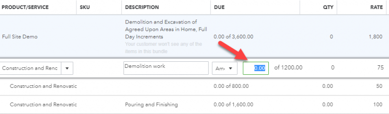 QuickBooks Progress Invoicing