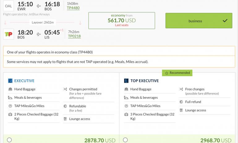 tap portugal executive class cost